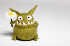 Felted Toy Mosters with Flower Royalty Free Stock Images