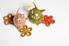 Felted Toy Mosters in Love Stock Image