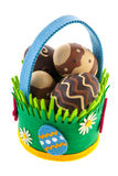 Felting basket with chocolate easter eggs Stock Photo