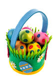 Felting basket with easter eggs Royalty Free Stock Images