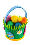 Felting basket with easter eggs Royalty Free Stock Photos