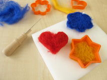 Felting figures with wool Royalty Free Stock Image