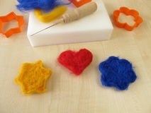 Felting figures with wool Stock Photography
