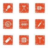 Felting fish icons set, grunge style. Felting fish icons set. Grunge set of 9 felting fish vector icons for web isolated on white background Stock Image