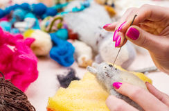 Felting wełien zabawki workshope Obraz Royalty Free