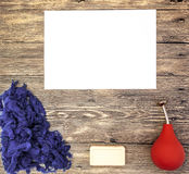 Felting or knitting mocap place for text, with blue wool, soap, orange watering felting on a wooden background Royalty Free Stock Images