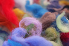Felting materials - pieces of colored wool Stock Photo