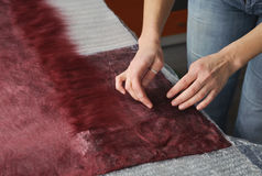 Felting wool by hand. Stock Images