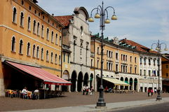 Feltre, Italien: Marktplatz Maggiore-Renaissance-Gebäude Lizenzfreie Stockfotografie