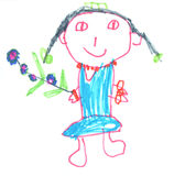 Feltro Pen Child Drawing Immagine Stock