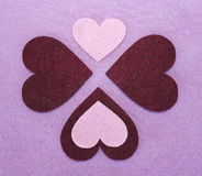 Felts hearts Stock Images