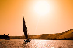 Felucca in Aswan, Egypt royalty free stock images