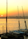 Felucca boats at the harbor at sunset, Luxor Stock Photos