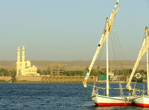 Felucca boats on the Nile river bank Royalty Free Stock Photography