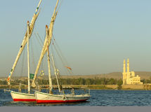 Felucca boats on the Nile river bank Royalty Free Stock Image