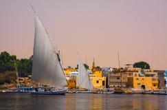 Felucca en el Nilo en Egipto Fotografía de archivo