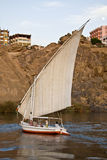 Felucca on the Nile. A felucca sails on the Nile in Egypt Stock Photo