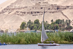 Felucca on the Nile. A felucca sails on the Nile in Egypt Stock Photography