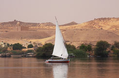 Felucca on the Nile in Egypt. Felucca on the Nile near Aswan in Egypt Stock Images