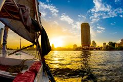 Felucca ride on the Nile. At sunset, Cairo, Egypt royalty free stock photos
