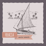 Felucca sail boat vector sketch. Royalty Free Stock Images