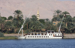 Felucca sailing boat, river Nile Egypt. Traditional Felucca sailing boat, river Nile Egypt Royalty Free Stock Images
