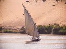 A felucca sailing on the river Nile in Egypt. A felucca sails along the Upper Nile close to Aswan in Egypt Royalty Free Stock Photography