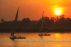 Felucca at Susnet Stock Photo