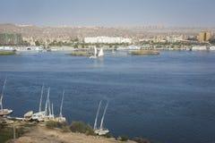 Feluccas sailing on the Nile near Aswan, Egypt Stock Images