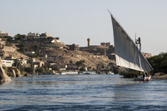 Feluccas - traditional sail vessel on Nile river in Egypt. Royalty Free Stock Photography
