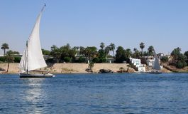Feluka on the Nile. Feluka sailboat on the Nile near Aswan, Egypt royalty free stock photo