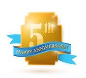 Fem år årsdagsköld. illustration Arkivbild