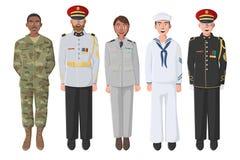 Fem amerikanska soldater i likformig royaltyfri foto