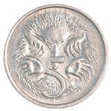 fem australiska cent mynt Royaltyfria Foton