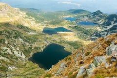 Fem av de sju Rila berg sjöarna Arkivbilder