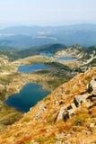 Fem av de sju Rila berg sjöarna Fotografering för Bildbyråer