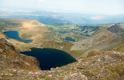 Fem av de sju Rila berg sjöarna Royaltyfri Foto
