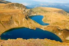 Fem av de sju Rila berg sjöarna Royaltyfria Bilder