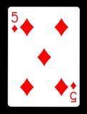 Fem av diamanter som spelar kortet, Royaltyfri Fotografi