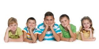 Fem barn Royaltyfria Bilder