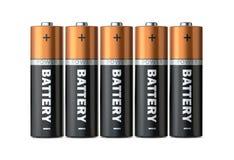 Fem batterier av typamerikanska motorförbundet i en enkel rad som isoleras på en vit bakgrund Fotografering för Bildbyråer