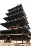 fem-berättelse pagod av den Horyu jien i Nara Arkivbild