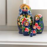 Fem blåa Matryoshkas Royaltyfria Bilder