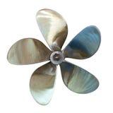 Fem-bladed propeller. Isolerat över vit Fotografering för Bildbyråer