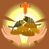 Fem bröd och två fiskar vektor illustrationer
