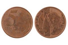 Fem brasilianskt centavos mynt Royaltyfri Fotografi