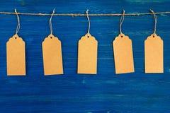 Fem bruna prislappar för tomt papper eller etikettuppsättning som hänger på ett rep på den blåa bakgrunden Royaltyfria Foton