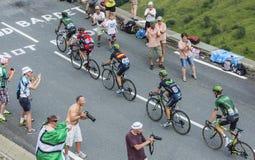 Fem cyklister på sänkan de Peyresourde - Tour de France 2014 Arkivbild