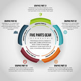 Fem delar kugghjul Infographic Royaltyfri Fotografi