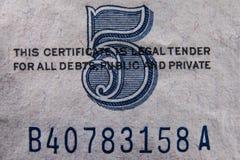 Fem dollar Bill Detail Arkivfoto